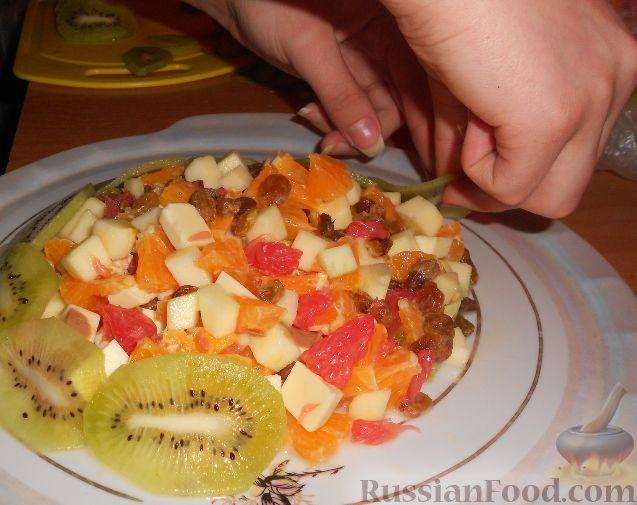 """Фото приготовления рецепта: Фруктовый салат """"Изумрудная черепаха"""" - шаг №13"""