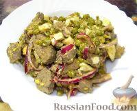 Фото к рецепту: Салат из куриной печени и зеленого горошка