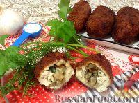 Фото к рецепту: Котлеты по-киевски с вешенками и сыром