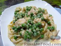 Фото к рецепту: Тальятелле с курицей и горошком, в нежном сливочном соусе