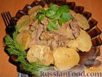 Фото к рецепту: Картофель, тушенный с печенкой