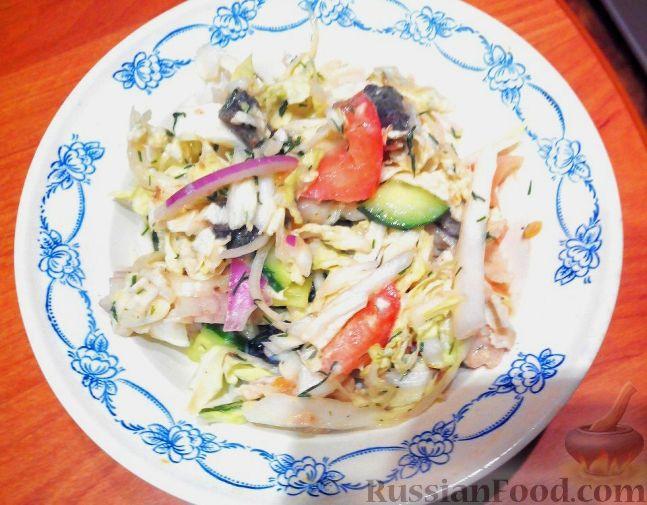 салат с курицей и грибами пекинской капустой рецепт с фото