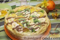 Фото к рецепту: Торт-эклер с фруктами и шоколадом