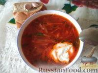 Фото к рецепту: Украинский борщ со свиной ножкой и фасолью