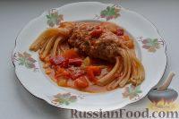 Фото к рецепту: Макароны с мясом (спагетти