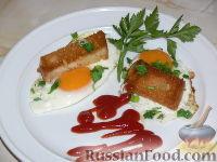 Фото к рецепту: Жареные яйца с гренками