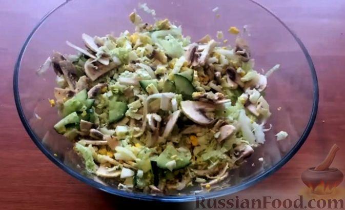 Рецепт салата с капустой пекинской и шампиньонами