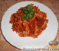 Фото к рецепту: Макароны с мясом и черемшой