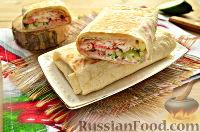 Фото к рецепту: Шаурма с колбасой и крабовыми палочками