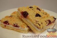 Фото к рецепту: Песочный пирог с вишней