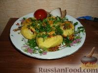 Фото к рецепту: Картофельные лодочки, запеченные с фаршем