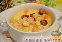Фото к рецепту: Сырный суп с копчеными колбасками