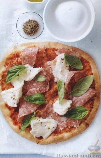 Рецепт Простая пицца с салями и моцареллой
