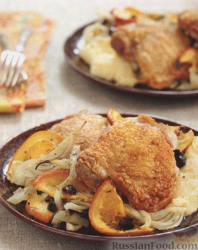 Рецепт Куриные бедрышки с фенхелем и апельсином