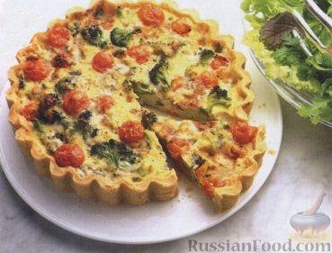 Рецепт Открытый пирог с брокколи, сыром и помидорами