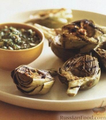 Рецепт Жареные на гриле артишоки с оливковым соусом