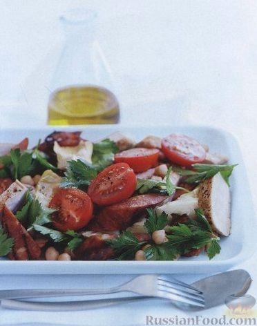 Рецепт Салат с копчеными колбасками и куриным филе