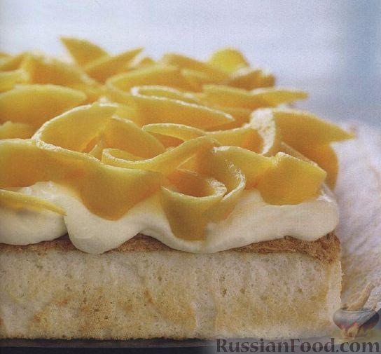 Рецепт Бисквитный пирог с кокосовой стружкой и манго