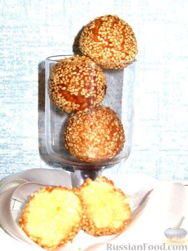 Рецепт Творожно-кокосовые пончики в кунжуте