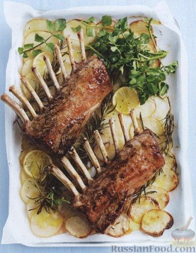 Рецепт Бараньи ребрышки, жаренные с картофелем в духовке