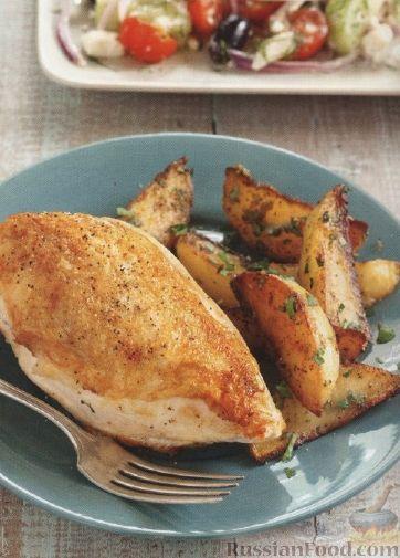 Рецепт Куриное филе с жареным картофелем