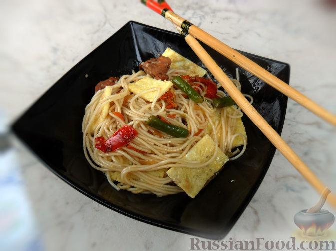 Рецепт Лапша сомен с курицей, овощами и омлетом