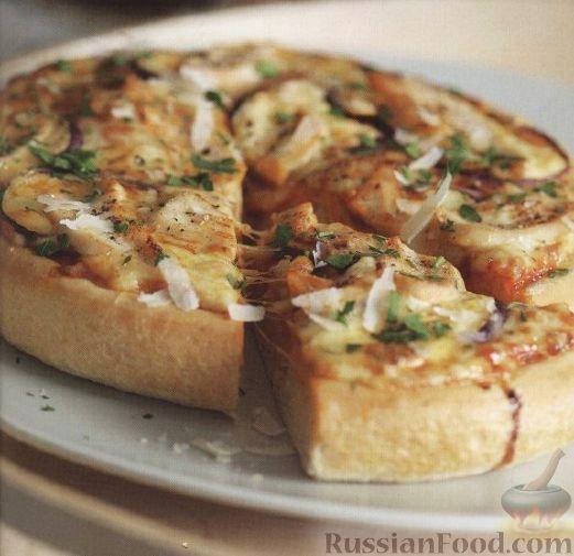 Рецепт Пицца с куриным мясом, сыром и луком