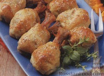 Рецепт Куриные голени, запеченные в слоеном тесте