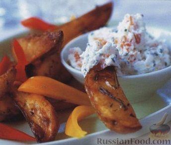 картофельные дольки с сырным соусом рецепт