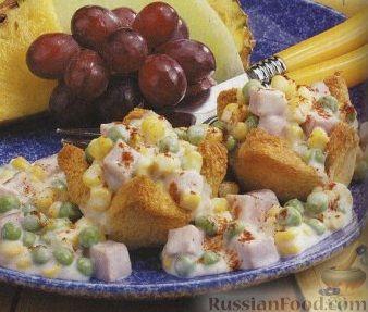 Рецепт Тарталетки из хлеба с кукурузой, ветчиной и зеленым горошком