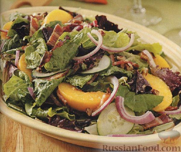 Рецепт Зеленый салат с персиками
