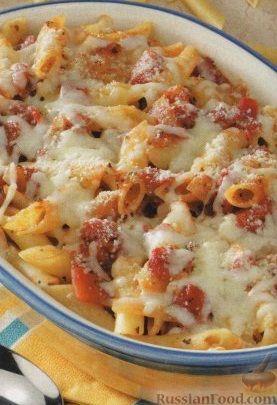 Рецепт Макароны, запеченные с помидорами и сыром