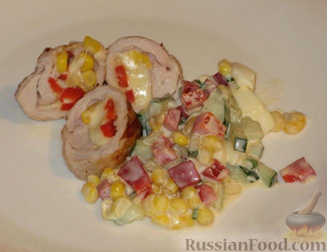 Рецепт Конвертики из свинины с сыром и кукурузой