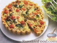 Фото к рецепту: Открытый пирог с брокколи, сыром и помидорами