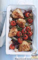 Фото к рецепту: Курятина, жаренная в духовке с овощами