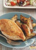 Фото к рецепту: Куриное филе с жареным картофелем