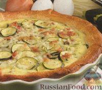 Фото к рецепту: Открытый пирог с цуккини и сыром