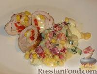 Фото к рецепту: Конвертики из свинины с сыром и кукурузой