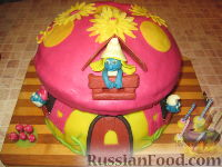 """Фото к рецепту: МК Торт """"Домик Смурфиков"""" (пошагово)"""