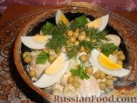 Фото к рецепту: Салат из курицы с зеленым горошком