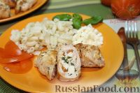 Фото к рецепту: Куриные рулетики с помидорами и мягким сыром