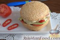 Фото к рецепту: Бургер домашний, с авокадо и чили