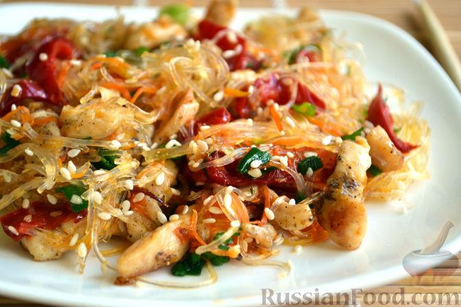 Рецепт салата с фунчозой и курицей пошагово