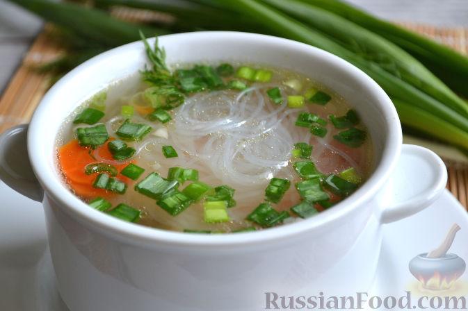 рецепт супа с фунчозой с курицей и креветками