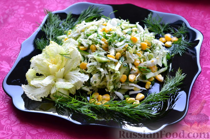 салат с кукурузой огурцом капустой