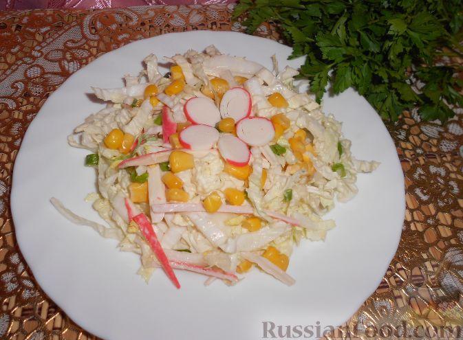 Легкий салат из яиц и кукурузы