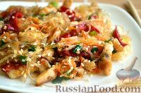 Фото к рецепту: Фунчоза с курицей и овощами