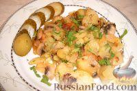 Фото к рецепту: Жареный картофель с шампиньонами