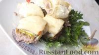Фото к рецепту: Рулетики из кабачков, запеченные в духовке