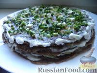 Фото к рецепту: Печеночный торт с плавленым сыром